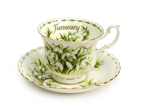January Cup and Saucer - Teacup on White Background