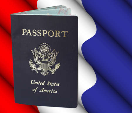 desired: American passport with clipping path - remove passport from background cleanly and easily if desired, or use as shown.