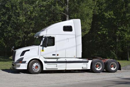 White Semi Tractor Trailer cab