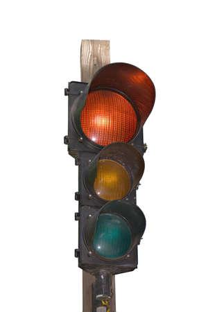 ユニークなトラフィックの光 - 赤点灯。白で隔離。
