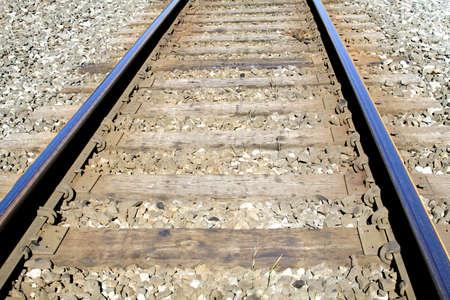 Train tracks on a bright sunny summer day.