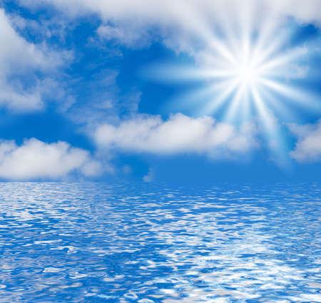 Funky Blue Backround - sky, water, sun
