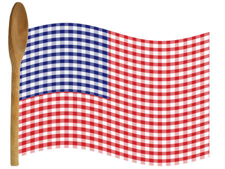holiday cooking: Flag made from gingham red, white, blue and wooden spoon staff. Recipe, holiday, cooking - Isolated on White for easy extraction. Stock Photo