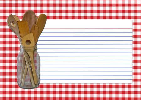 favoritos: Guinga roja y blanca - tarro de la cuchara - tarjeta de la receta todos los elementos creados por Denise Kappa. Foto de archivo