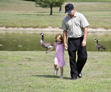 A man walking with his child or grandchild near a pond - geese in background. Stock Photo - 521830