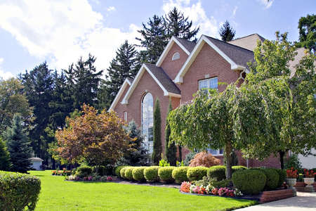 median: A beautiful residential home in a major city suberb in Ohio. Stock Photo