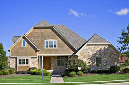 housing lot: A beautiful home in America. Stock Photo