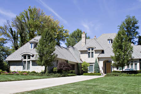 housing lot: An expensive home in an American neighborhood in Ohio Stock Photo