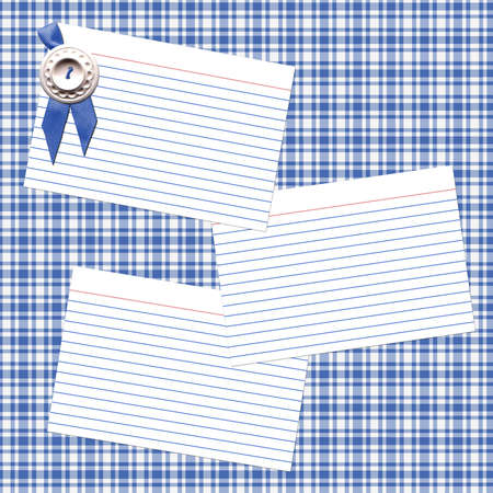 Scrapbook style blue-ribbon recipe layout.  All elements digitally created by Denise Kappa.
