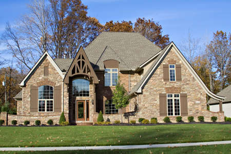 housing lot: A beautiful residential home in the suburbs of Cleveland, OH United States Stock Photo