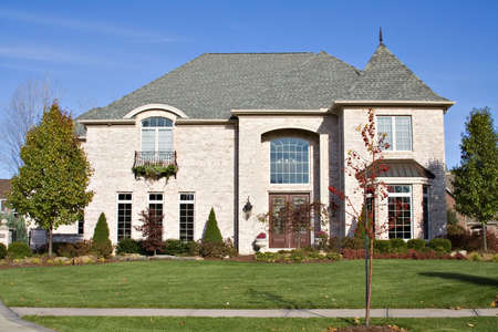 housing lot: A beautiful and expensive home in exclusive suburb of Cleveland, Ohio. Stock Photo