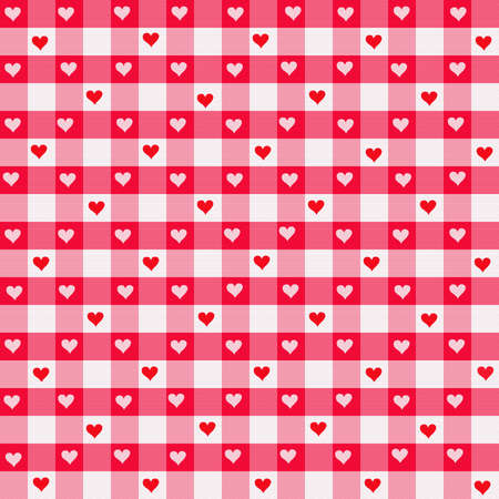 Digitally simulated red heart gingham fabric background.
