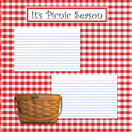 a recipe layout page picnic theme matching blank page available