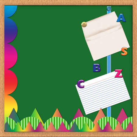 A green bulletin board with elements - all elements created by Denise Kappa Stock Photo