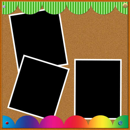 A cork board with colorful borders displaying three blank photographs. photo
