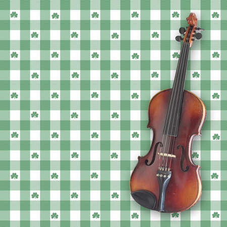 A violin (fiddle) on a shamrock gingham digital background.  All elements and brushes created by Denise Kappa Stock Photo - 780682