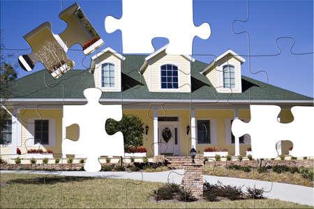 An Amercan residential home in the south with puzzle pieces missing.   Stock Photo - 838838