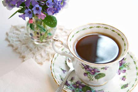 Cup of Tea - vase of spring flowers.