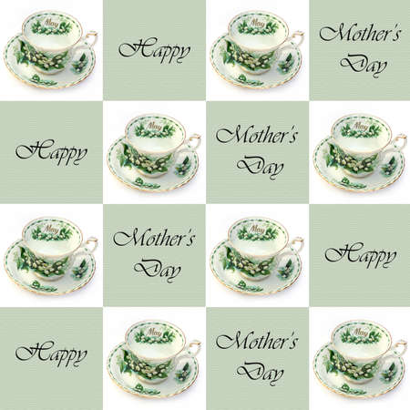 A SEAMLESS Mothers Day background with May teacups photo