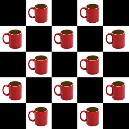 desired: SEAMLESS background  - coffee cups on white - tile to desired size Stock Photo