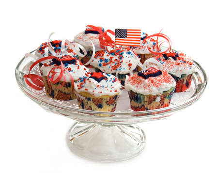 A plate of cupcakes with a American Patriotic theme. photo