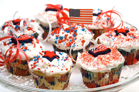 American theme plate of holiday cupcakes - shallow depth of field photo