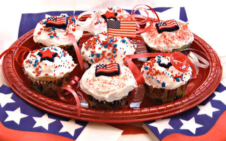 A plate full of cupcakes ready for an American holiday celebration. Stock Photo - 919270
