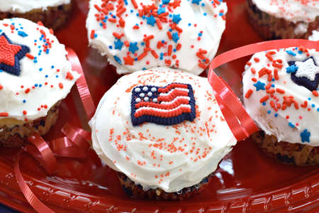 Cupcakes decorated for an American holiday celebration.  photo
