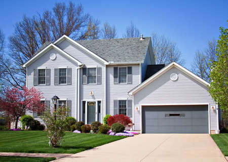 A lomo style photo of neat new home in Ohio.  Stock Photo