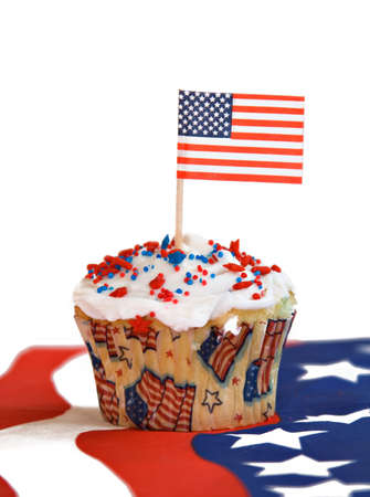 sweetest: A red, white and blue  American flag holiday celebration cupcake.  Stock Photo
