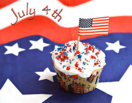 sweetest: American Independence Day  - red, white, blue with text - cupcake decorated for celebration.