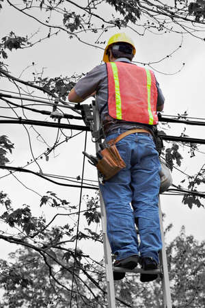 repairman: A lineman working on cable - telephone pole from ladder.