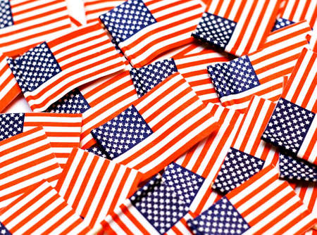 American flag background - vivid red, white and blue color and texture. 版權商用圖片