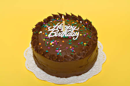 A chocolate birthday party cake with candles, sprinkles and words.