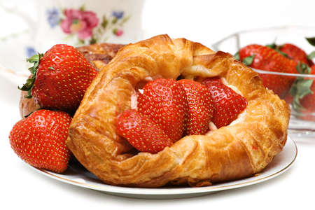 afternoon break: Beautiful Strawberry pastry with fresh fruit and a cup of tea.