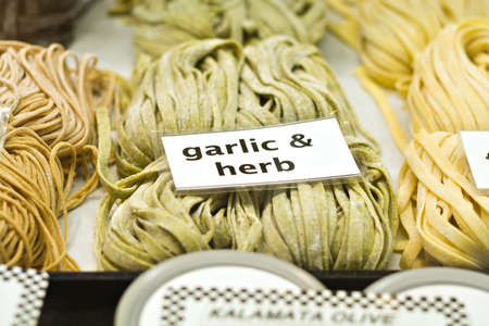 Fresh pasta being sold at the Cleveland West Side  Market in Ohio.  photo