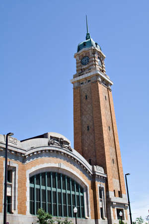 View of historical West Side Market in Cleveland OH house many food vendors.