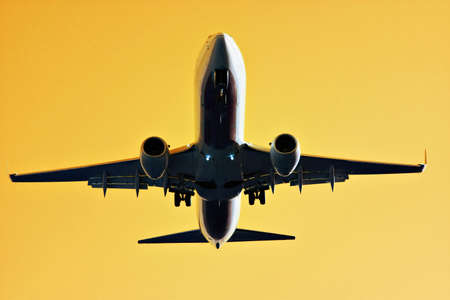 jetliner: The under side of a large commercial jet with yellow golden backdrop.