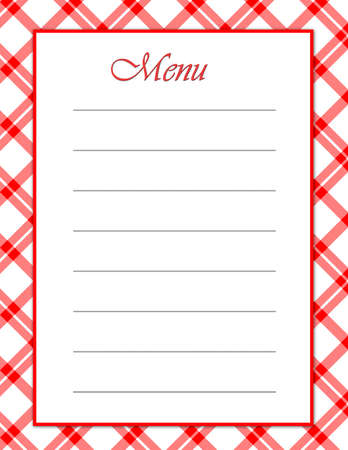 gingham: A red white menu - matching background  recipe layouts available to coordinate.
