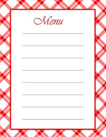 Ein rotes Weiß-Menü - passender Hintergrund Rezept-Layouts zur Verfügung zu koordinieren.  Standard-Bild - 1422426