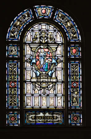 A stained glass - Ascension - Holy Rosary Catholic  - Little Italy,  Cleveland OH Stok Fotoğraf - 1482928