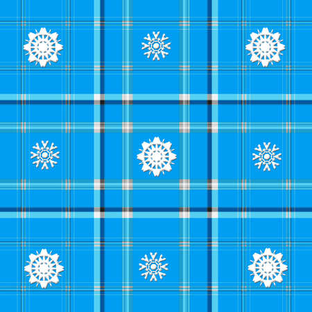 A SEAMLESS high resolution medium blue plaid with snowflake details.  Snowflakes created by Denise Kappa.