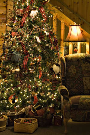A night time view of a cozy room at Christmas time. Stock Photo - 2038124