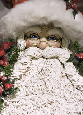 A decorative Santa Clause - shallow depth of field - focus on eyes.