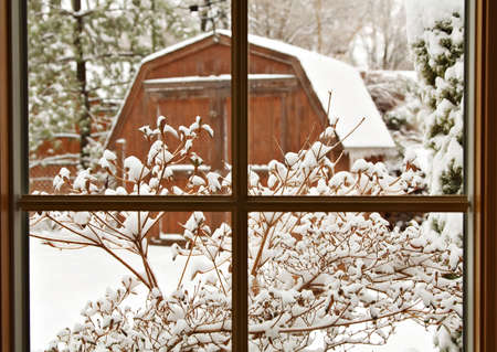 pane: The winter scene outside my window in March  - Cleveland OH Stock Photo
