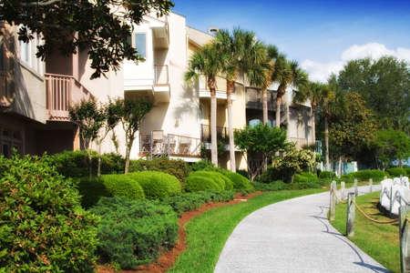 Condominiums along the harbor in Harbour Town, Hilton Head Island, South Carolina.