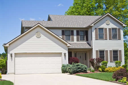 A neat American home in the suburbs of Cleveland, Ohio.   Stock Photo