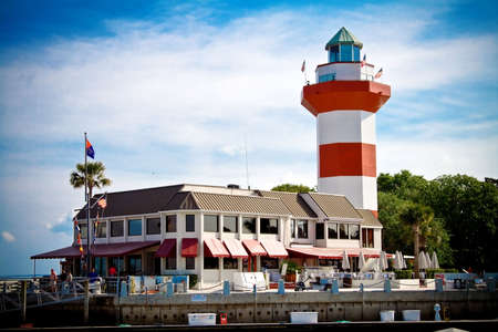A lighthouse stands in Harbour Town, South Carolina 스톡 콘텐츠