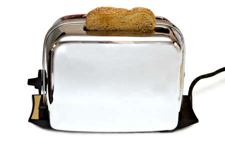 Retro Toaster with a piece of wheat toast - white background