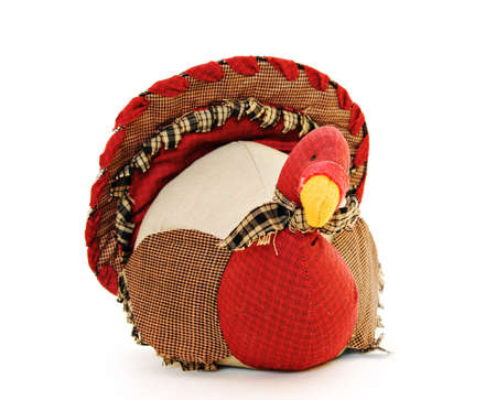 A fabric holiday patchworrk turnkey decoratrion for fall and Thanksgiving